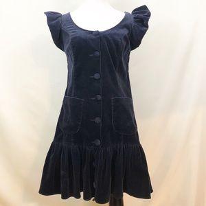 Betsey Johnson Polka Dot Velvet Button Dress Sz 4